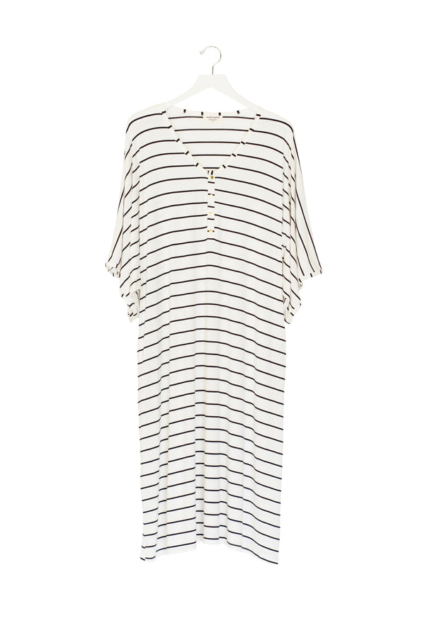 Breton Stripe | CAFTAN - Dwell and Slumber house dress gold snaps