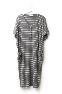 London Stripe | COCOON - Dwell and Slumber house dress gold snaps