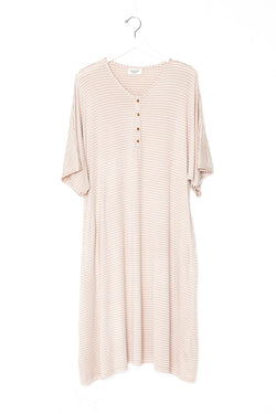 Ecru Stripe | CAFTAN - Dwell and Slumber house dress gold snaps