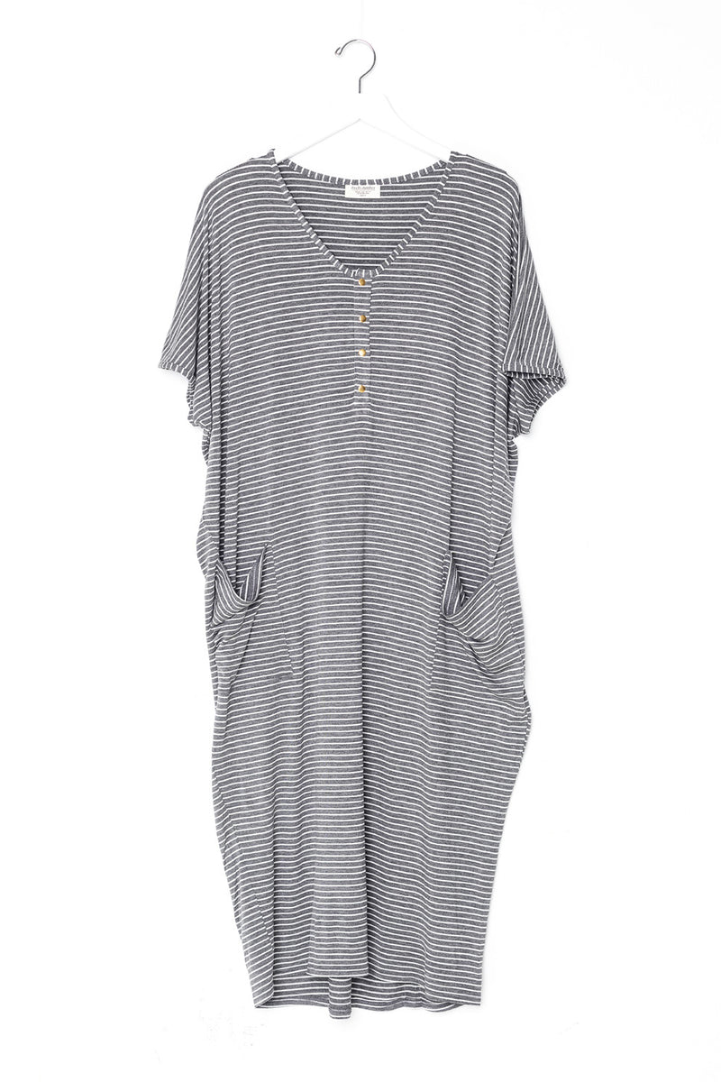Graystone Stripe | COCOON - Dwell and Slumber house dress gold snaps