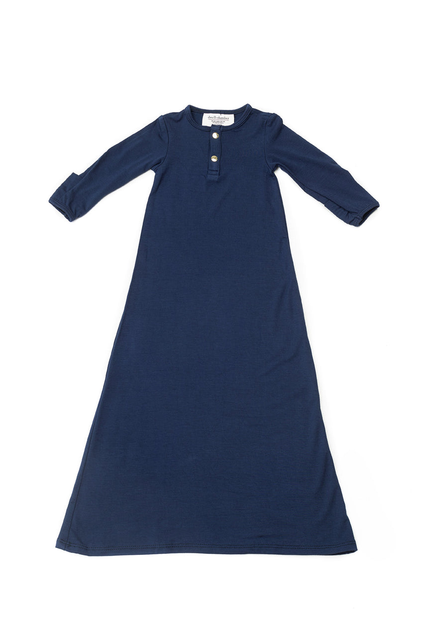 Navy | BABY - Dwell and Slumber house dress gold snaps
