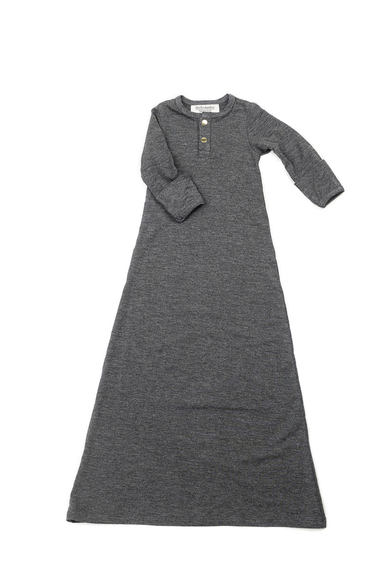 Charcoal | BABY - Dwell and Slumber house dress gold snaps