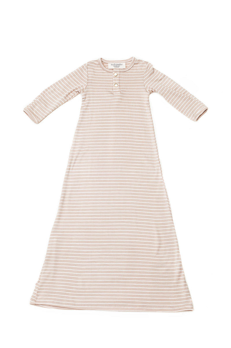 Ecru Stripe | BABY - Dwell and Slumber house dress gold snaps