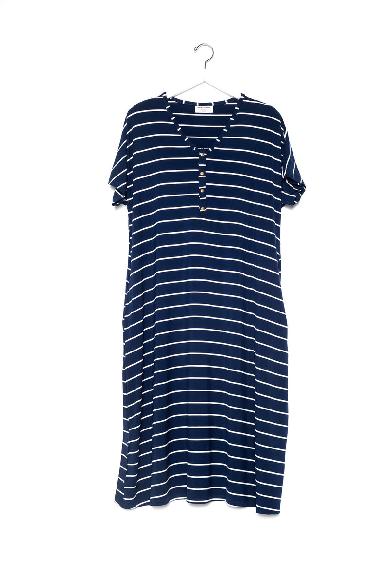 Midnight Stripe | SWING - Dwell and Slumber house dress gold snaps