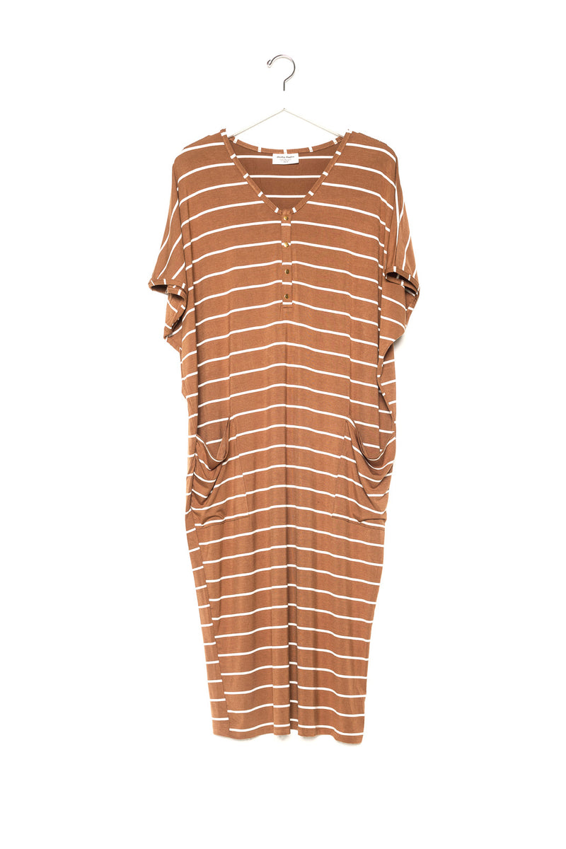 Camel Stripe | COCOON - Dwell and Slumber house dress gold snaps