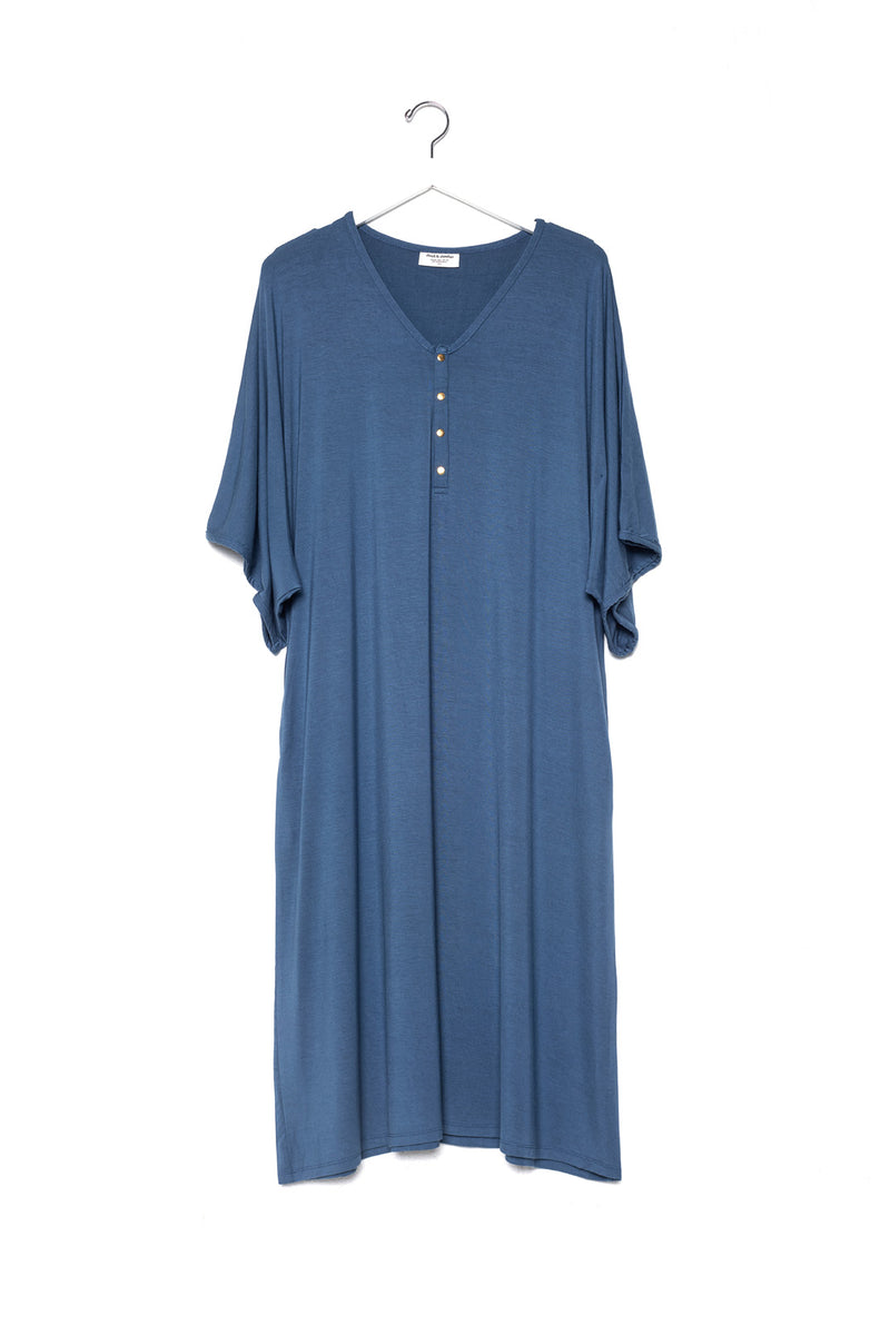 Denim | CAFTAN - Dwell and Slumber house dress gold snaps