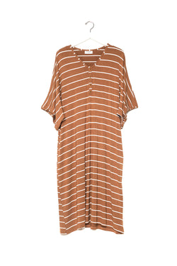 Camel Stripe | CAFTAN - Dwell and Slumber house dress gold snaps