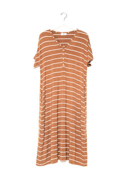 Camel Stripe | SWING - Dwell and Slumber house dress gold snaps
