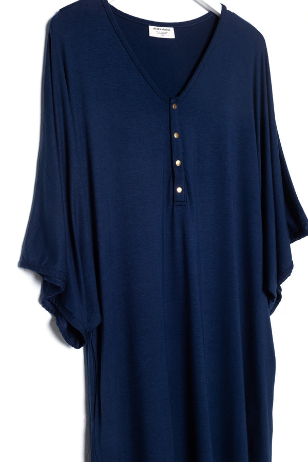 Midnight | CAFTAN - Dwell and Slumber house dress gold snaps