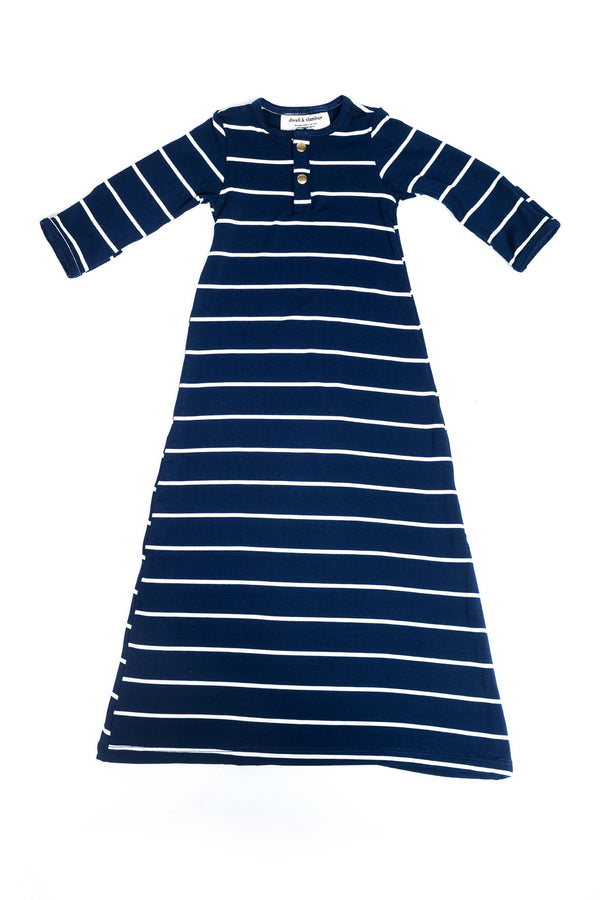 Midnight Stripe | BABY - Dwell and Slumber house dress gold snaps
