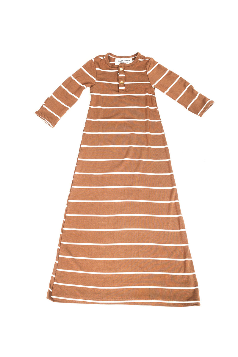 Camel Stripe | BABY - Dwell and Slumber house dress gold snaps