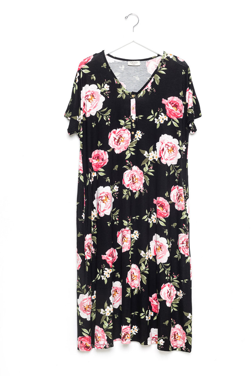 Primrose | SWING - Dwell and Slumber house dress gold snaps