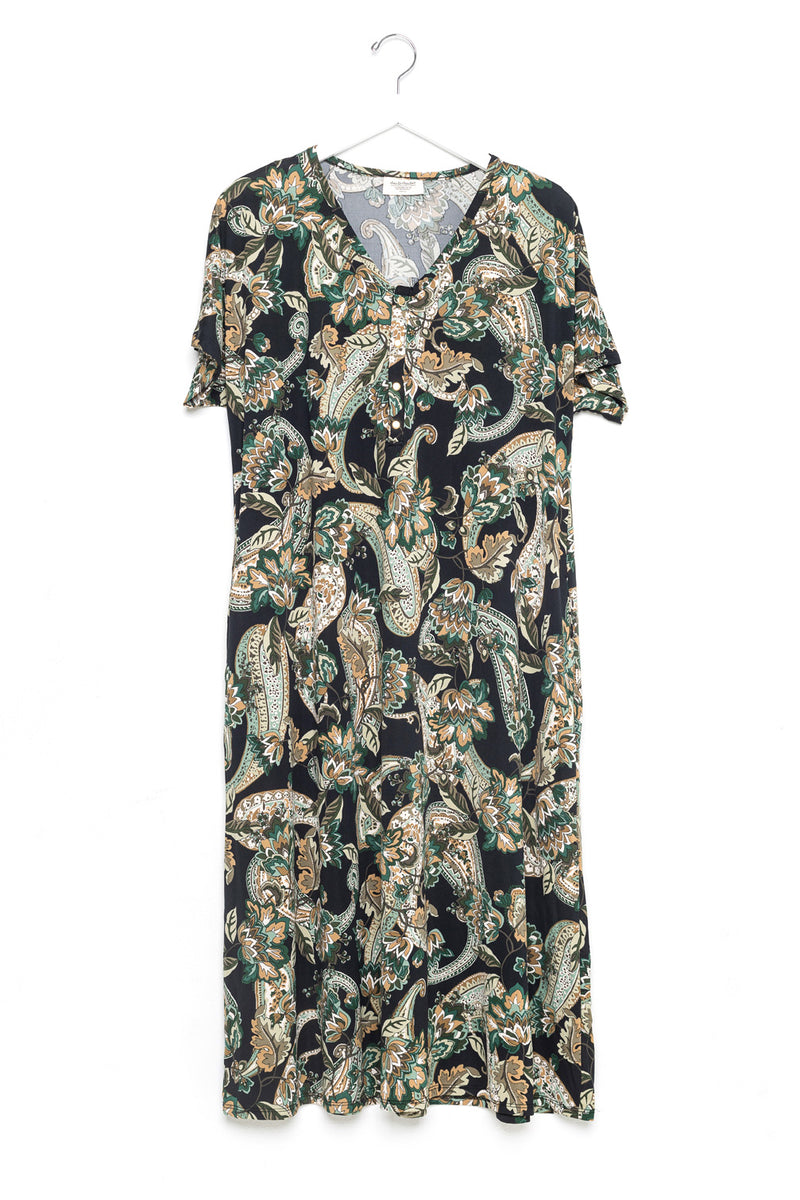 Olive Paisley | SWING - Dwell and Slumber house dress gold snaps