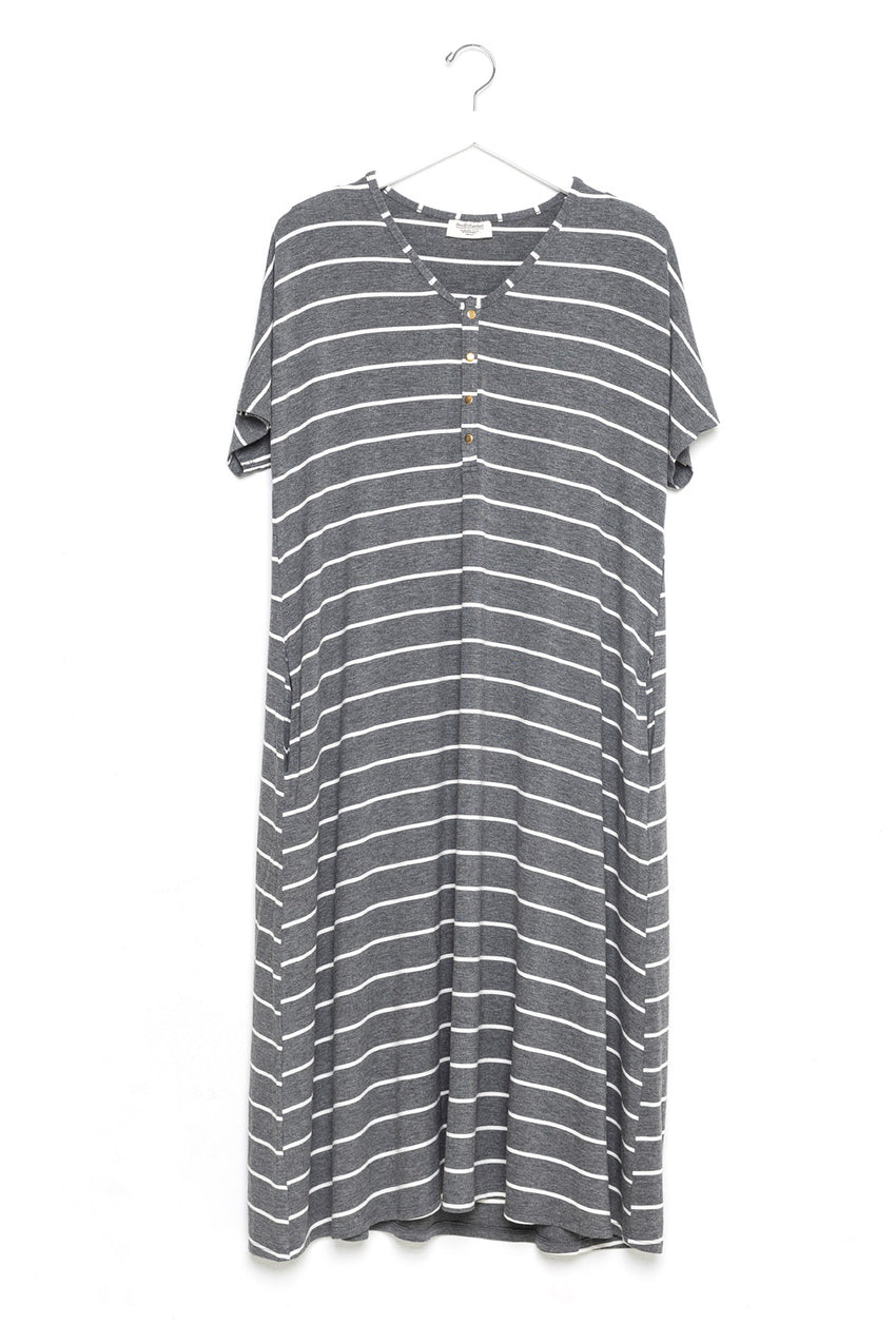 London Stripe | SWING - Dwell and Slumber house dress gold snaps