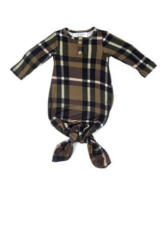 Olive Plaid | BABY - Dwell and Slumber house dress gold snaps