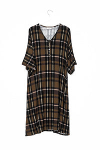 Olive Plaid | CAFTAN - Dwell and Slumber house dress gold snaps