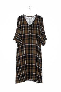 Olive Plaid | CLASSIC - Dwell and Slumber house dress gold snaps