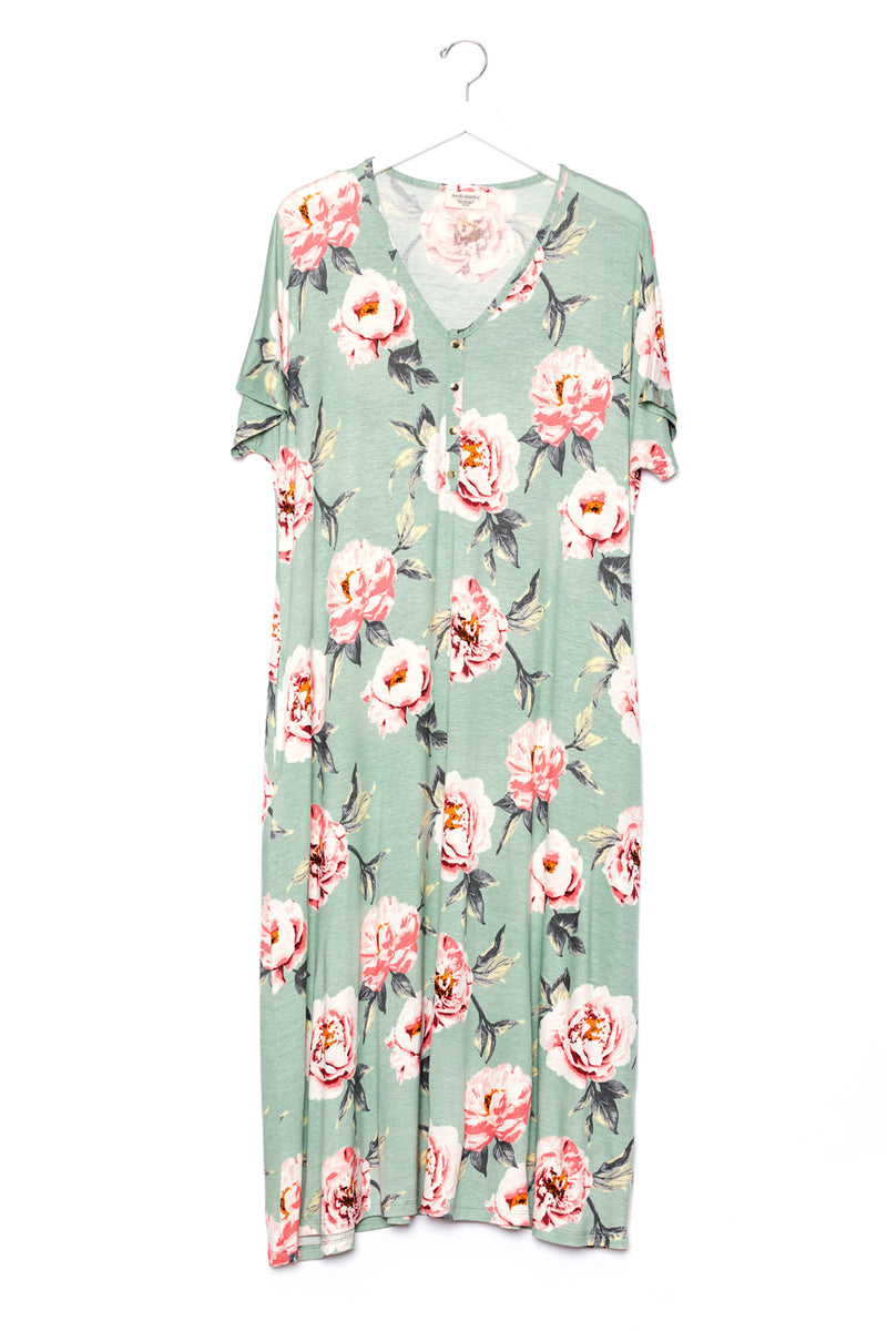 Peony | SWING - Dwell and Slumber house dress gold snaps