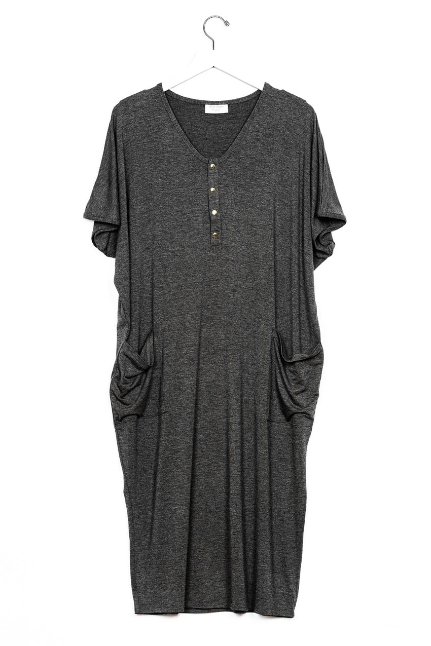 Charcoal | COCOON - Dwell and Slumber house dress gold snaps