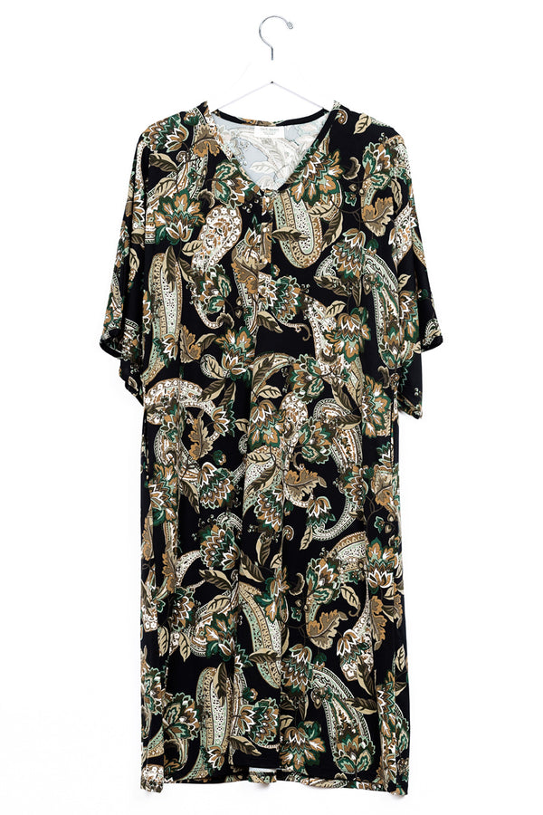 Olive Paisley | CAFTAN - Dwell and Slumber house dress gold snaps