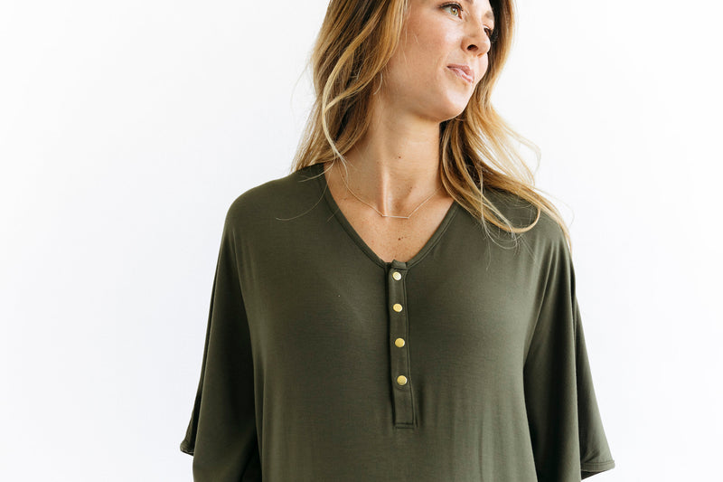 **PREORDER** | Olive | CAFTAN - Dwell and Slumber house dress gold snaps