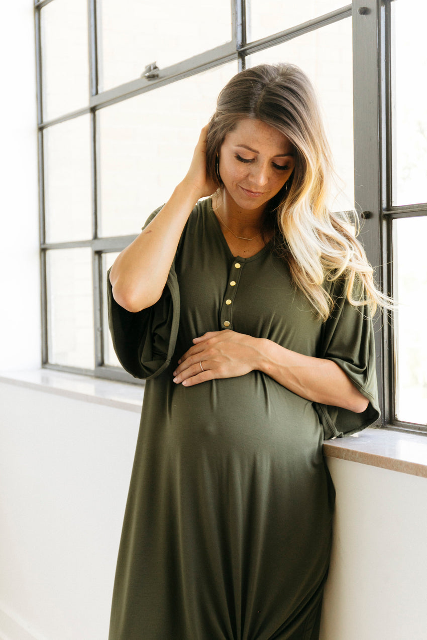 Olive | CAFTAN - Dwell and Slumber house dress gold snaps