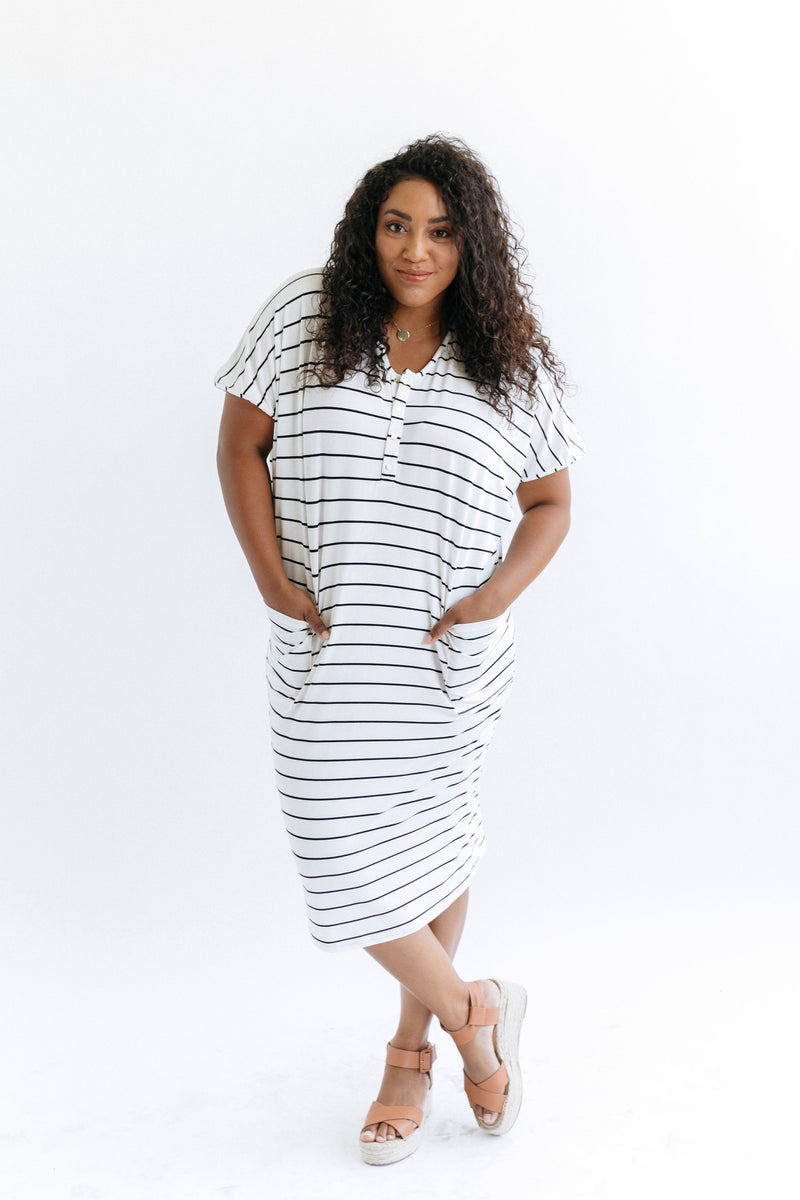 Midnight Stripe | COCOON - Dwell and Slumber house dress gold snaps