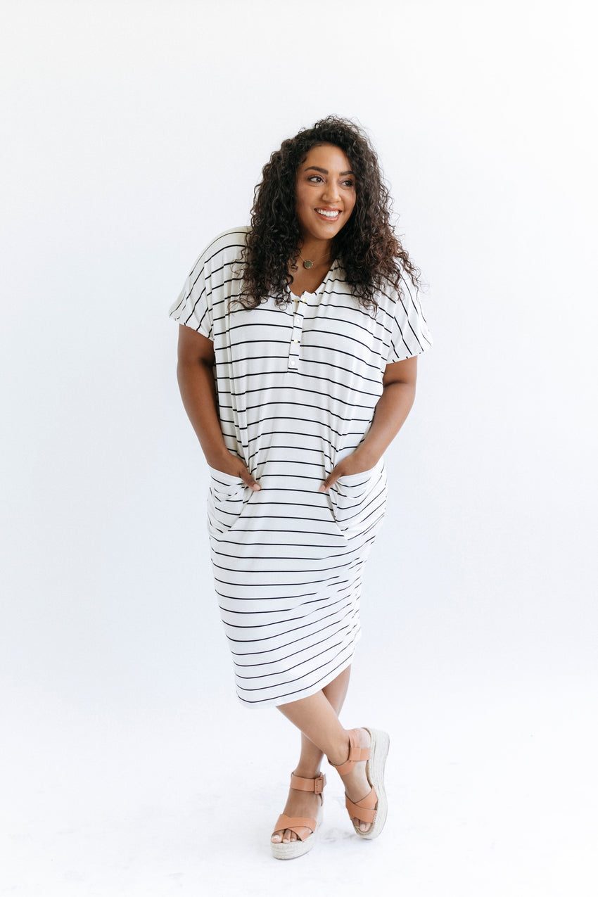 Breton Stripe | COCOON - Dwell and Slumber house dress gold snaps
