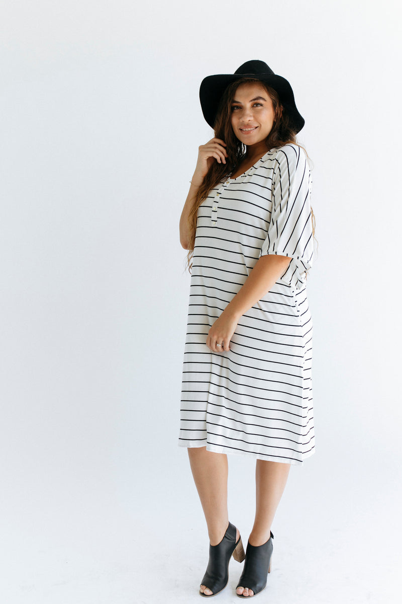 Midnight Stripe | CAFTAN - Dwell and Slumber house dress gold snaps