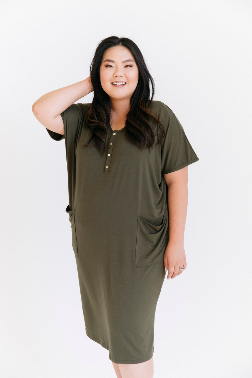Olive Paisley | COCOON - Dwell and Slumber house dress gold snaps