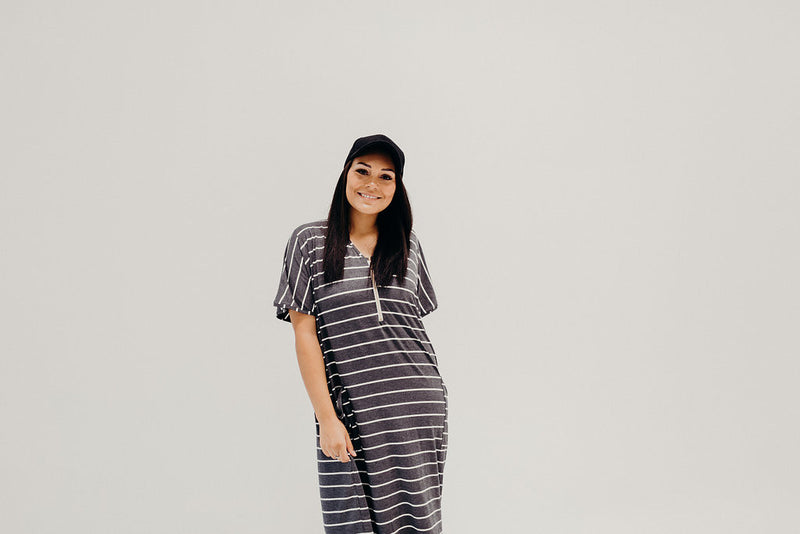 Mustard Stripe | COCOON - Dwell and Slumber house dress gold snaps