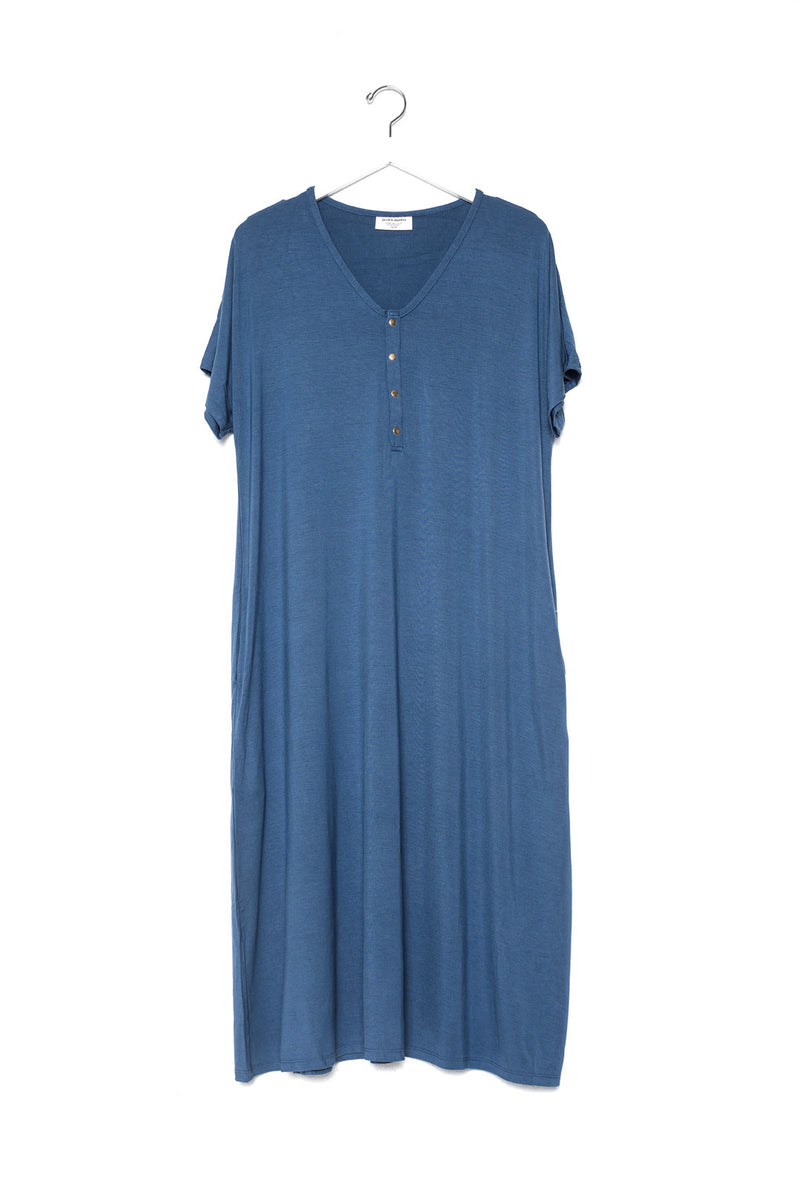 Denim | SWING - Dwell and Slumber house dress gold snaps