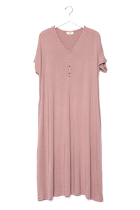 Mauve | SWING - Dwell and Slumber house dress gold snaps