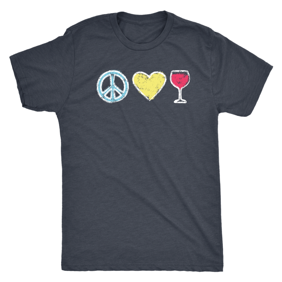 Peace, Love, Wine - Classic Tee - Lushy Wino