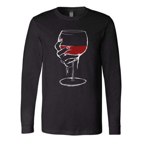 Large Glass of Bold Red Wine - Long Sleeve