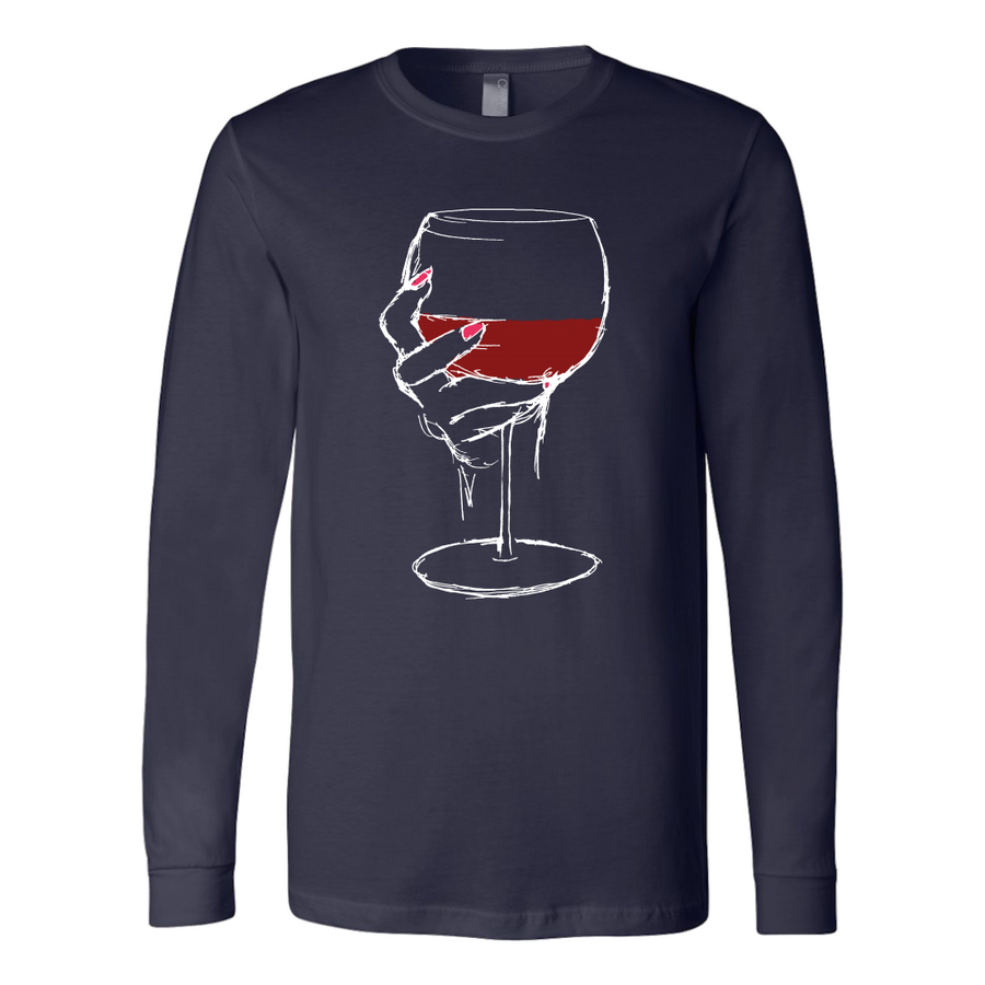 Large Glass of Bold Red Wine - Long Sleeve - Lushy Wino