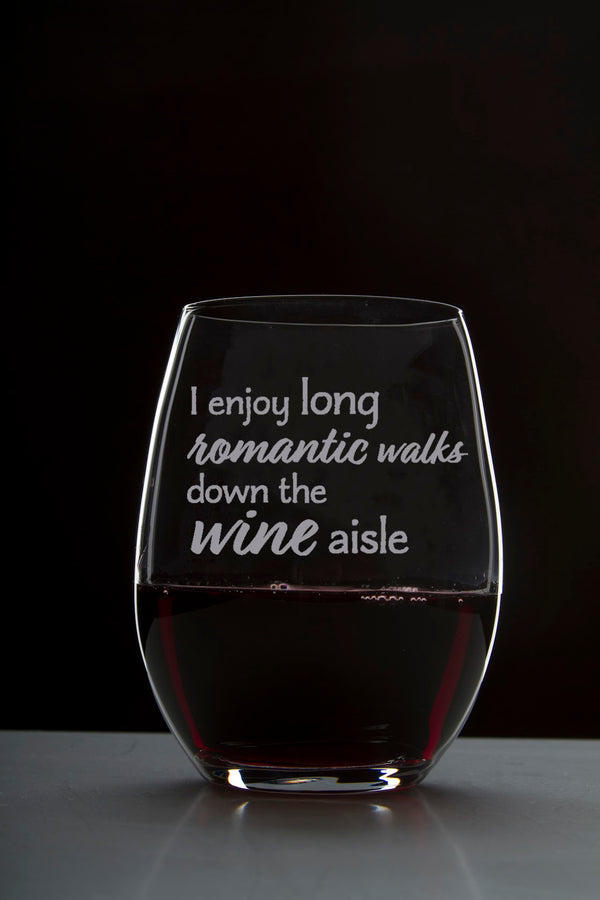 I Enjoy Long Romantic Walks Down The Wine Aisle - 18 Ounce Stemless Wine Glass - Lushy Wino