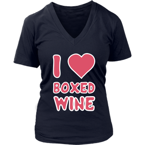 I Love Boxed Wine - V-Neck Tee - Lushy Wino