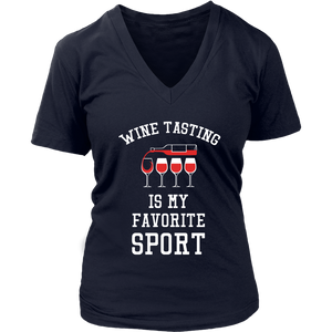 Wine Tasting Is My Favorite Sport - V-Neck Tee - Lushy Wino