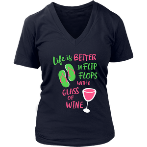 Life is Better in Flip Flops with a Glass of Wine - V-Neck Tee - Lushy Wino