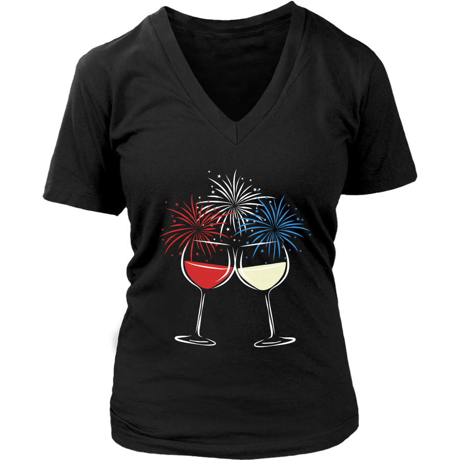 Cheers to Freedom - V-Neck Tee - Lushy Wino