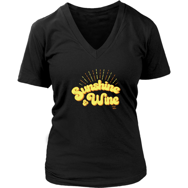 Sunshine & Wine - V-Neck Tee - Lushy Wino