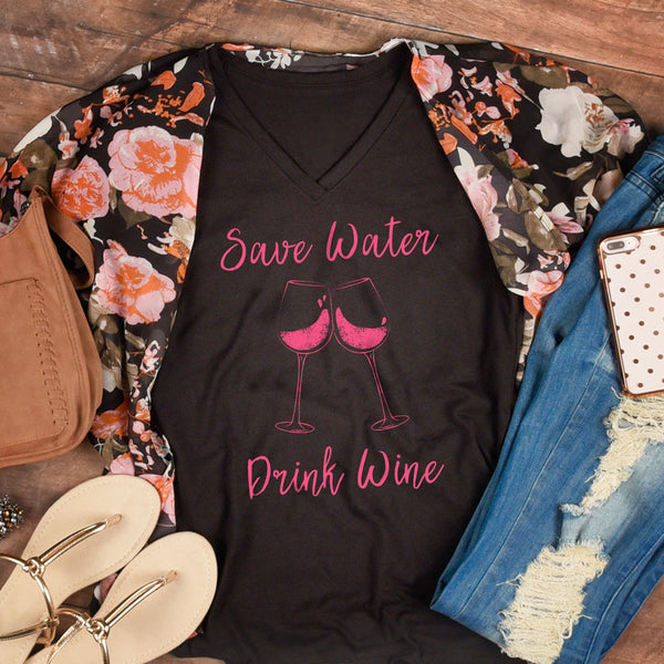 Save Water, Drink Wine - V-Neck Tee - Lushy Wino