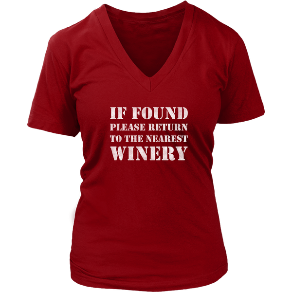 If Found Please Return to the Nearest Winery - V-Neck Tee - Lushy Wino