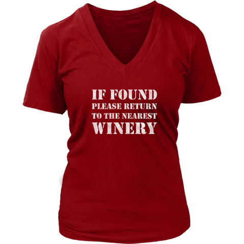 If Found Please Return to the Nearest Winery - V-Neck Tee