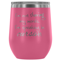 Insulated 12 oz Wine Tumbler - Pink