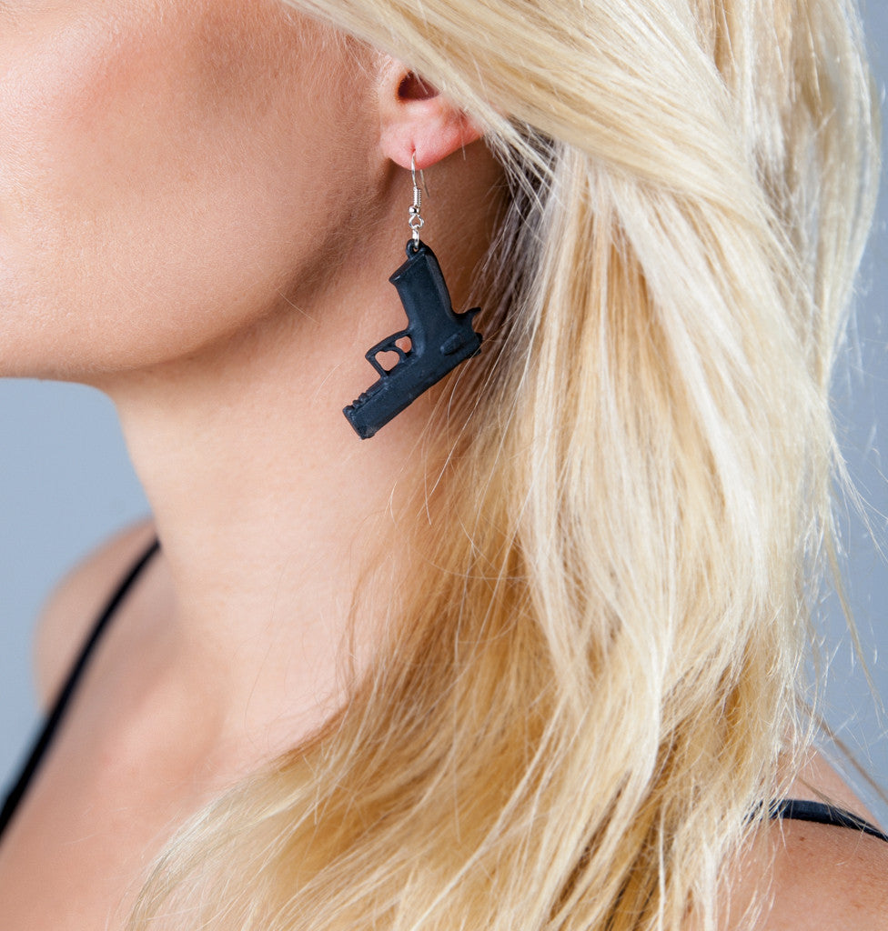 "Earrings ""Bang!"" black with black trigger"