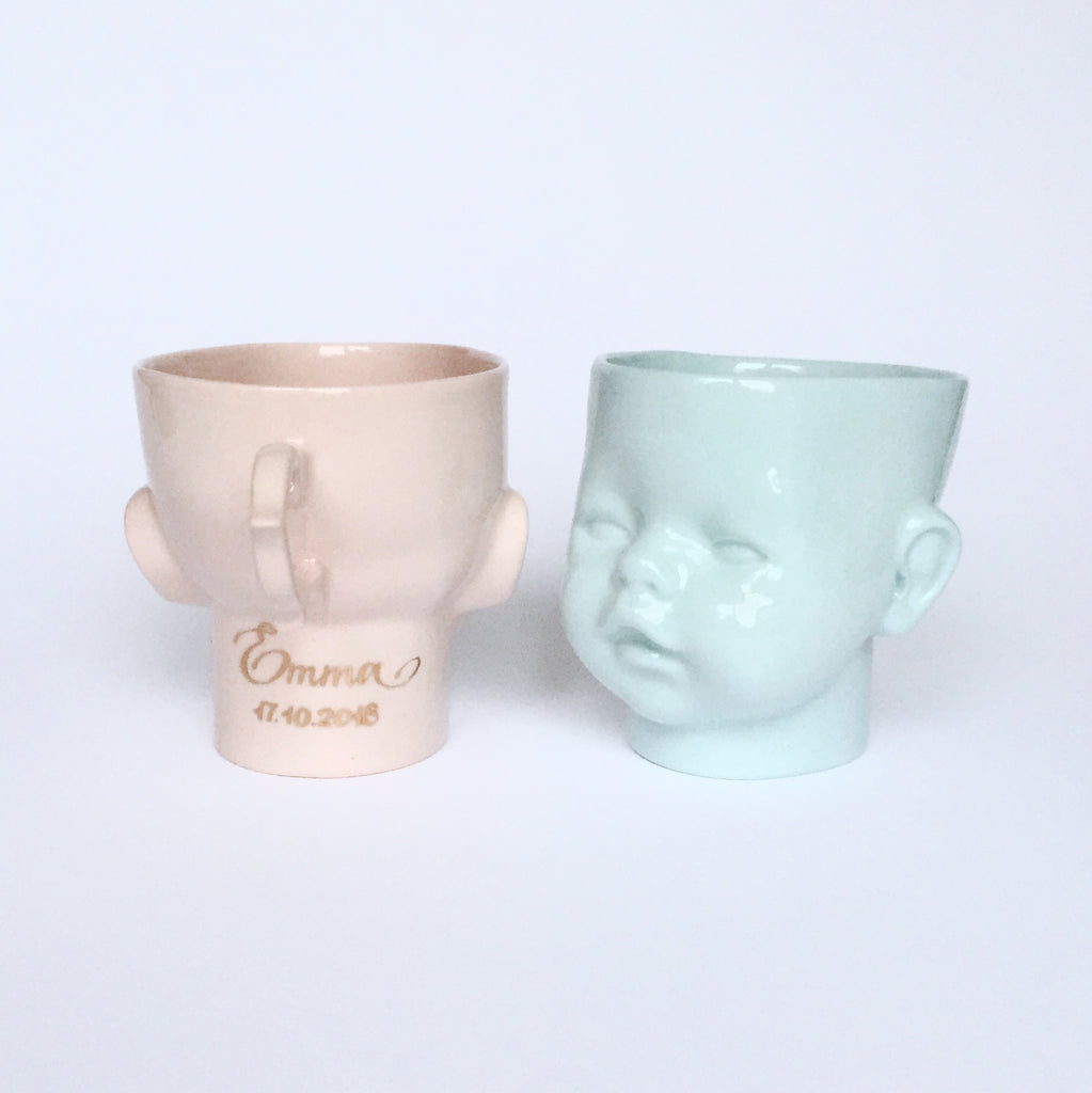 """OH Baby!"" cup/mug pink with personalisation"
