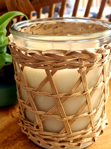 Rattan Wrapped Candle LARGE - Waterlily Home