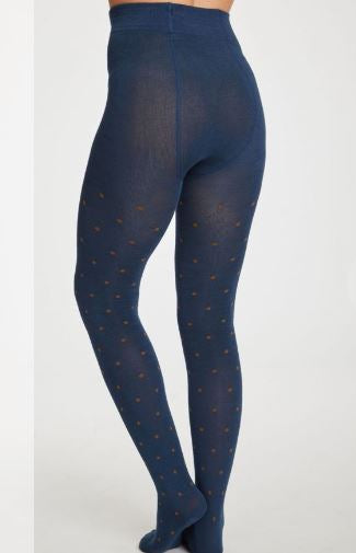 Petrol/Tan Spot Tights